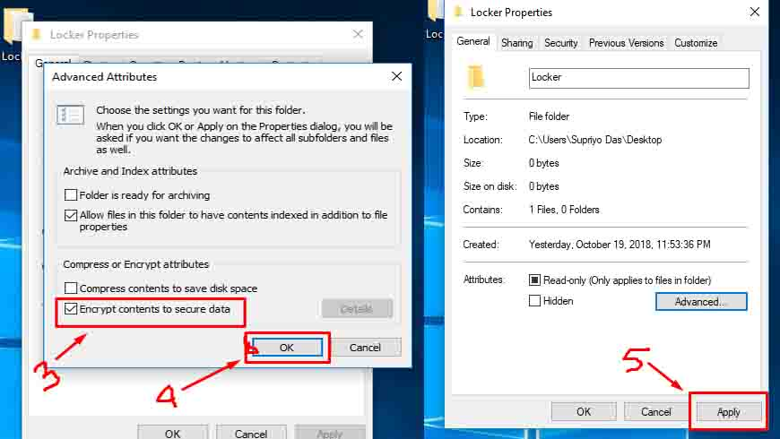 Encrypt content to secure data in windows10
