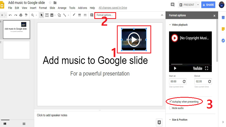 Autoplay audio when presenting, audio play through the entire Google slide presentations