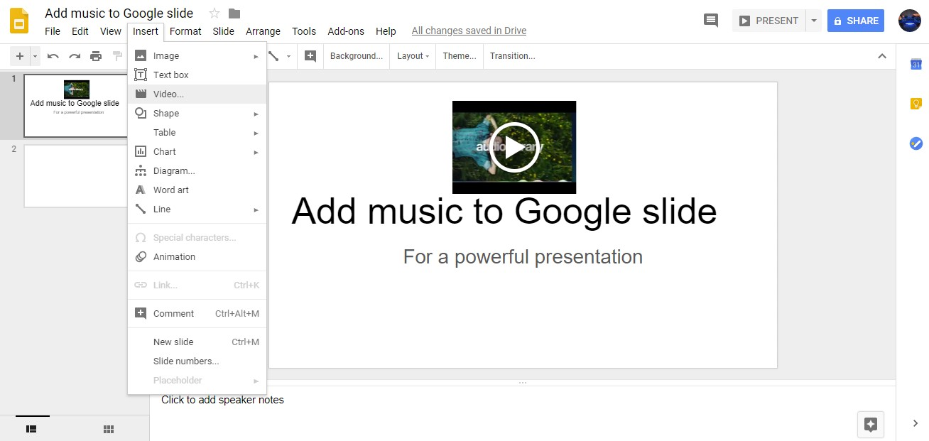 add music to google slide, audio google slide